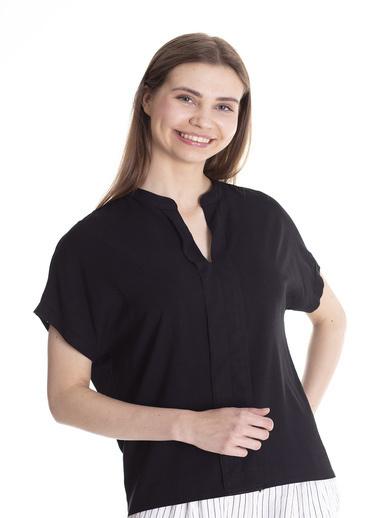 Stamina Hakim Yaka Düşük Kol Bluz Siyah